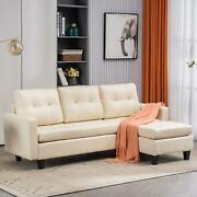 Pu Leather L-shaped Sectional Sofa 3-seater Chaise Lounge Couch Bed Set Storage