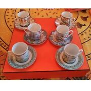 Hermes Patchwork Coffee Cup Plate 6 Set Limited Edition Rare Mug And Saucer