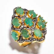 Natural Pave Diamond Emerald Gemstone Rings 925 Sterling Silver Fine Jewelry