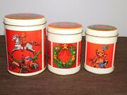 Vintage 3 Old Christmas Teddy Bears Rocking Horse Toys Metal Tin Cans