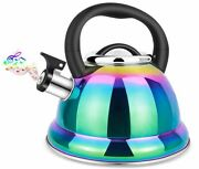 Tea Kettle For Stove Top 3.5l Funky Whistling Stainless Steel Rainbow Color