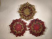 Vintage Woven Wicker Straw Trivet Hot Pad Rattan Raffia Red Gold And Blue