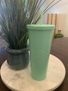 Starbucks Matte Mint Green Stainless Steel Cold Cup 24oz Metal Pre Own Mint Rare