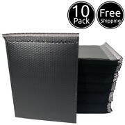 10 Pack 9 X 12 Inches Usable Large Black Poly Bubble Shipping Mailers Envelopes