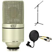 Mxl 990 Large-diaphragm Condenser Microphone With Boom Stand Pop Filter And