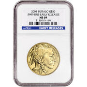 2008 American Gold Buffalo 1 Oz 50 - Ngc Ms69 - Early Releases