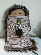 Handmade 18 Inch Doll Native American Features , Costume Jewlry ,925 Silver Pin