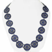 Pave Diamond Sapphire Evil Eye Necklace 925 Sterling Silver Gift Jewelry