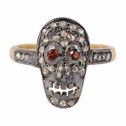 925 Sterling Silver Pave Diamond Garnet Skull Ring Anitique Fine Jewelry