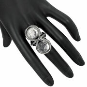 Pave Diamond Crystal Gemstone Sterling Silver Shaker Ring Cocktail Jewelry