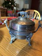 Antique Meriden B. Company Silver Plated Butter Dish Andndash 3 Pieces Andndash Cow Finial