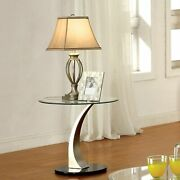 Furniture Of America Wuct Contemporary Silver 22-inch Glass Satin Plated/clear N