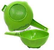 Tupperware 2 Qt And 1 Quart Colander Strainer With Handle Apple Green Classic