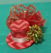 Red Top Hat Fascinator Red Lace Gold Christmas Bow Women Girl Tiny Doll Fntht78