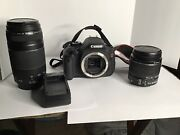 Canon Eos Rebel T3i Digital Slr Camera With 18-55mm And 75-300 Lenses Plus Bag