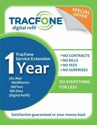 Tracfone Service Extension1year/365days 500minutes/500text/500mbdatadigital