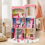 Large Classic Wooden Dollhouse Family Doll House W/furniture Toy For Girlsandkids