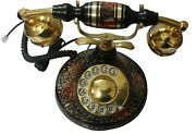 Vintage Antique Style Brass And Wood King Style Desk Landline Telephone Replica