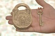 Old Brass Handcrafted Star And Lines Engraved Solid Padlock