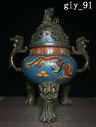 Chinese Qing Dynasty Cloisonne Pure Copper Enamel Dragon Pattern Cover Furnace