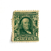 Series 1902 Benjamin Franklin 1 Cent Green Stamp Extremely Rare 119 Years Old