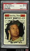 1961 Topps 578 Mickey Mantle - All-star Yankees Psa 8 - Nm/mt
