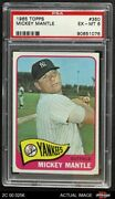 1965 Topps 350 Mickey Mantle Yankees Psa 6 - Ex/mt