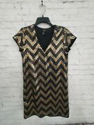 Ladies Handm Black And Gold Sequins Party Dress Size Small