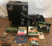 Beautiful 1955 221 Singer Featherweight Sewing Machine Case Many Extras