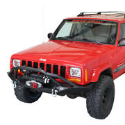Bullhead Front Winch Bumper With Grille Guard For Jeep Cherokee Xj 84-01 Fb22060