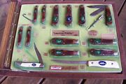 Camillus American Wildlife Knife Collection Usa 1970and039s Store Display W/14 Knives