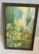 Vintage Photo Of Greek Scenery And Swans Framed Under Glass