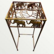 Metal Elephant Accent Table Plant Stand Side Table Top 12x12 Height 28