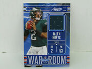 2020 Panini Absolute War Room Wm-22 Jalen Hurts Eagles Jersey Relic 192/199