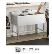 Giantex Nsf Utility Sink With 3 Compartment Commercial Kitchen Sink - Stainless