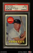 1969 Topps 500 Mickey Mantle Name In White Yankees Psa 4 - Vg/ex