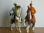 Vintage 1960's Hartland Lone Ranger And Tonto On Semi-rearing Horses Complete
