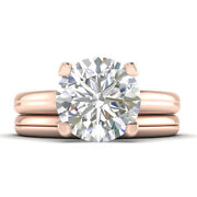 1ct D-vs2 Diamond Round Engagement Ring 18k Rose Gold Any Size