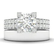 1.45ct F-si2 Diamond Pave Engagement Ring 14k White Gold Any Size