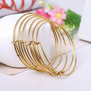 1pc Expandable Wire Bracelet Adjustable Gold Stainless Steel Bangle Gold Color