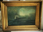 Antique Oil Painting On Canvas Marine Sailing Ship Motif From Mid 19th. Century