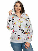 Womenand039s Plus Size Disney Mickey Mouse Zip Hoodie All-over Print Sweatshirt Gray