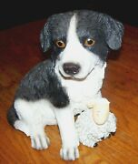 New Collectable Border Collie W Sheep Dog Resin Figurine Money Bank Gift Link