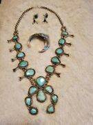 Sterling Silver And Turquoise Jewelry Set. Vintage. Rare. Sterling Silver.
