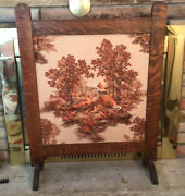 Antique Arts And Crafts / Tiger Oak ,quilted Raised Figures /on Linen ,fire Screen