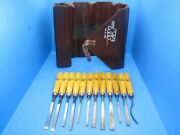 Nice Set Of 12 Mifer Spain Wood Carving Tools Chisels Gouges And Roll