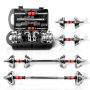 Weight Dumbbell Set Cast Full Iron Steel Barbell Plates Adjustable Gym Home Body