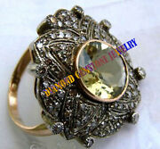 925 Silver Antique Look Rose Cut Natural Diamond Citrine Engagement Ring