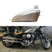 9l Modified Petrol Gas Fuel Tank + Oil Cap Universal For Motorcycle Silvery