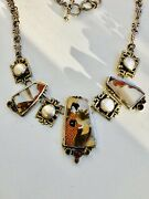 Echo Of The Dreamer-mars And Valentine,vintage Asian,hand-painted Necklace.